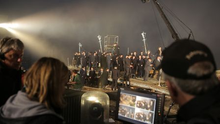 The filming of the production of Peter Grimes on the beach at Aldeburgh.
