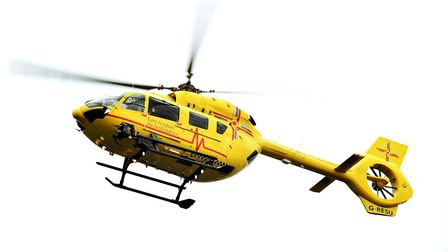 The air ambulance was called to the scene. Picture: JAMES BASS