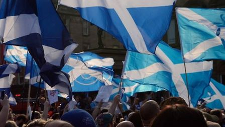 Flags being waved at the Scottish IndyRef. Photo: David Palmer