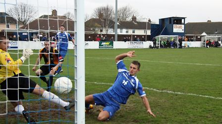 Jake Reed scoring for Lowestoft last season - something he'll look to do now this season after re-si
