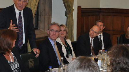 Vince Cable at a busienss leaders' dinner