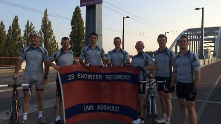 The cycling sappers at John Frost bridge in Arnhem. They arrived on Wednesday afternoon after 24 hou