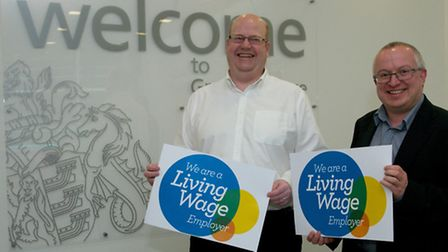 David Ellesmere and Councillor Martin Cook show Ipswich Borough Council's Living Wage official accre
