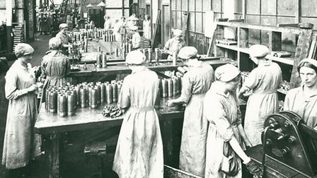 Female munition workers make shells at Crittalls' Braintree factory.