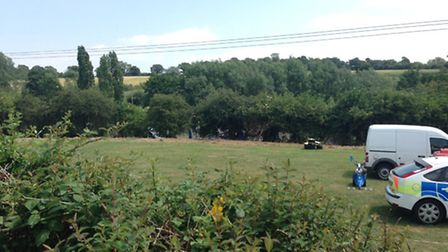 Officers continue to search Salary Brook Trail close to where Nahid Almanea's body was found. Pictur