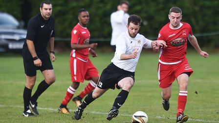 Bradenham Wanderers on the front foot during their 6-1 victory over Reepham Town on Saturday in the