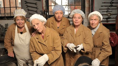 Dress rehearsal at Leiston Long Shop for the story of female munitions workers. L-R Tricia Reader, J
