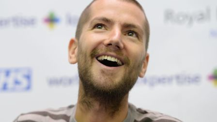 Will Pooley during a press conference at the Royal Free Hospital in north London, where thanked staf