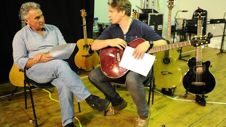 The cast of Midsummer Songs in rehearsal at the Wolsey Studio. Peter Rowe and Ben Goddard