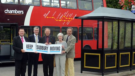 The launch of the Keep Sudbury Moving transport initiative at Sudbury bus station with Colin Spence,