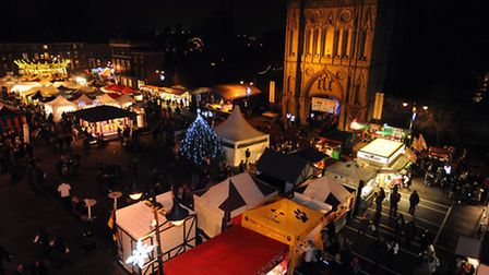 The festivities get underway as the Bury Christmas Fayre is officially opened.