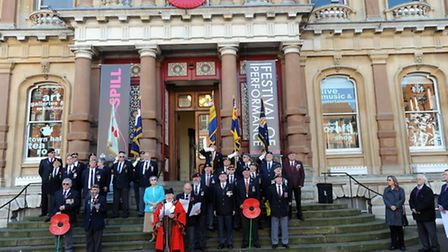 Mayor, Bill Quinton, officially launches the Poppy Appeal on the steps of Ipswich Town Hall.