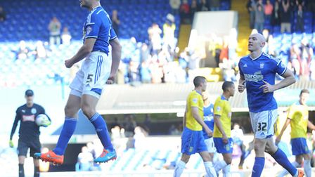 Tommy Smith celebrates his goal for Town.