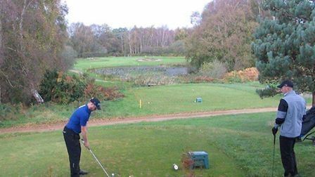 Rob Pritchard on the tee at the par-three seventh, the Thorpeness signature hole, during the final o
