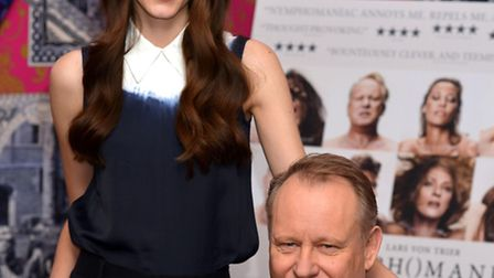 Stacy Martin and her co-star Stellan Skarsgard at a photocall for their new film Nymphomaniac by co