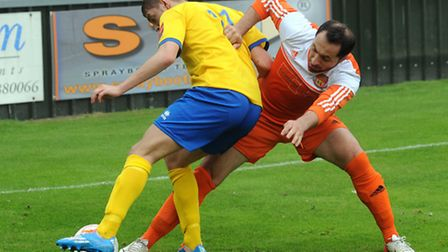 AFC Sudbury's Jack Wilkinson, left, caused havoc with long throws