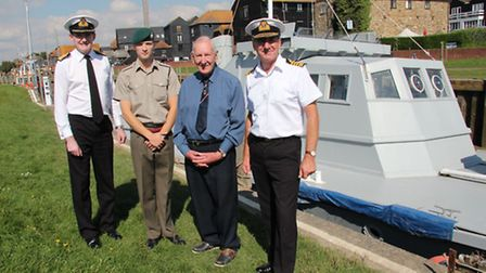 Don Tucker with First Sea Lord Admiral Sir George Zambellas KCB DSC ADC (left); Captain Tristan Stew