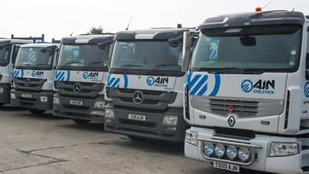 Lorries carrying the new corporate identity of AJN Steelstock