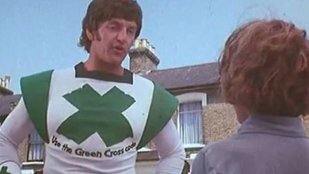 David Prowse as the Green Cross Code Man, his favourite role