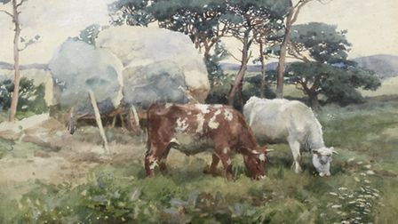 Watercolour landscape of cattle grazing before hay waggons, by Sir Alfred Munnings (�8,000-�12,000)