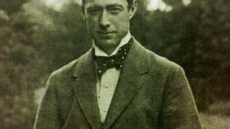 Sir Alfred Munnings in a photograph which hangs in Framlingham College.