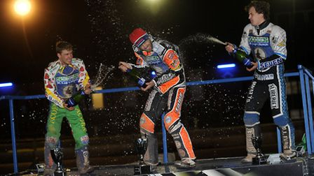 Podium joy at the 16-lapper, left to right: Rohan Tungate (2nd), winner Rory Schlein, Morten Risager