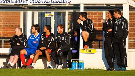 Steve Ball (far right) oversees his team's win in his last game in charge of the Blues
