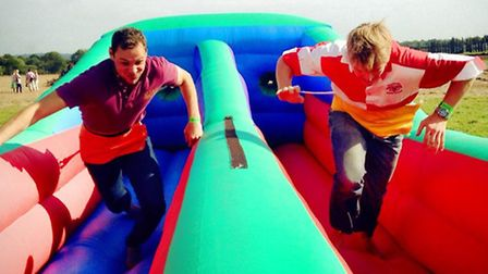 """Dave Peirson and Ollie Moore from Dunmow at the """"It's a knockout"""" competition"""