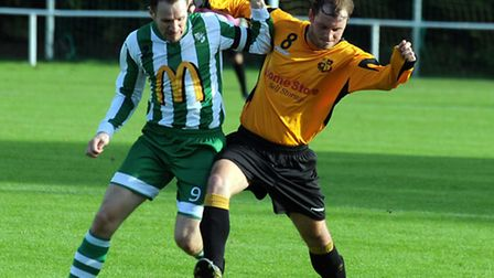 Whitton captain Chris Williams (green & white) will look to lead his side to FA Vase this afternoon