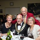 Mayor Gerard Brewster, centre, with his wife Audrey, right, Roy Hudd and his wife Debbie, at the Sto