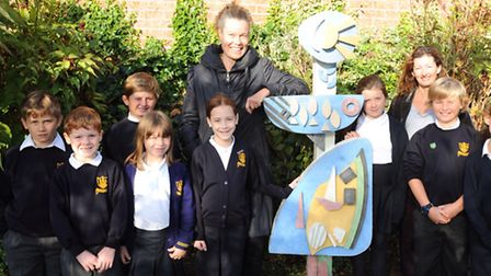 Artist Nicola Burrell worked with pupils and staff including Kerry Lindup at Mersea Island School to