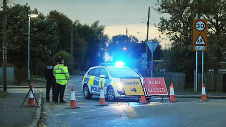 Police closed the road at Weston Hillls in Lincolnshire yesterday close to where a US Air Force F15