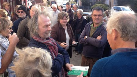 People living in Yoxford raised concerns about the transport route with their MP Therese Coffey when