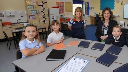 Zoe Newson officially opens the new classroom and playground at Old Newton Primary School.