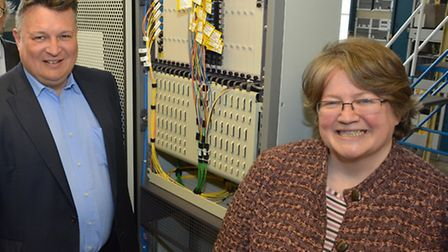Mark Bee and Therese Coffey are hoping to improve mobile coverage in Suffolk.