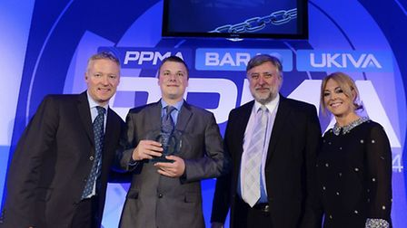 PPMA Apprentice of 2014 Andrew Lufkin (second from left) of Pacepacker receiving his award from Rory