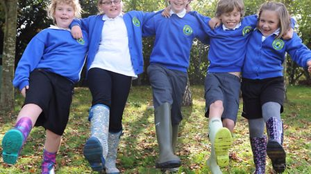 Stradbroke Primary School pupils took part in a Welly Walk to raise money for Give Hunger the Boot