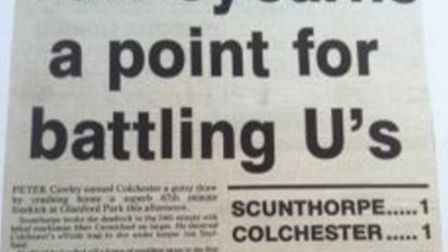 How the old Green 'Un newspaper reported on Peter Cawley's wonder goal at Scunthorpe from 20 years a