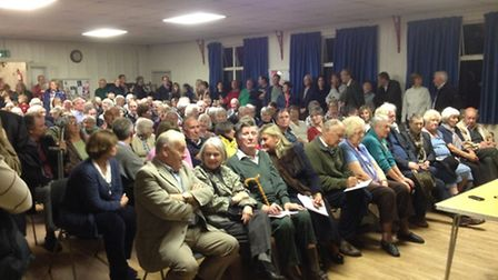 A packed audience for the infrasturcture meeting at St Michael's Rooms, Framlingham