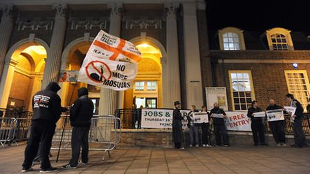 The Election count in Clacton. Protestors outside the count.