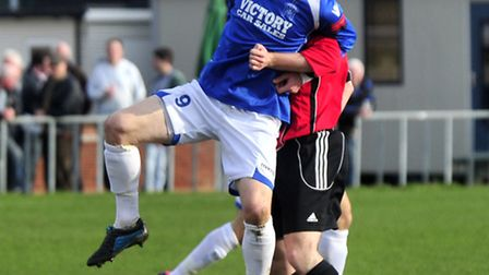 Brightlingsea Regent's new signing Michael Brothers in action for former club Leiston