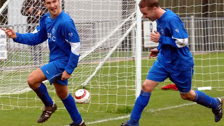 Chris Wright (left) and Gavin Jennings (right) celebrating a rare goal for Wright in their Leiston d
