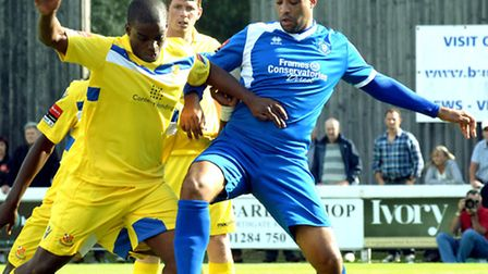 Richard Logan (right), in his Bury Town Days. The striker has just re-signed for Mildenhall.