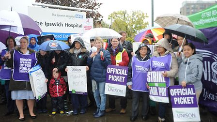 NHS staff at Ipswich Hospital hold a four-hour pay strike.