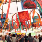 Colourful banners decorate the Flipside Brazilian Festival on Saturday, 4 October.