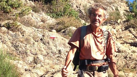 Jack Rosenthal in the Pyrenees approaching the end of his charity trek