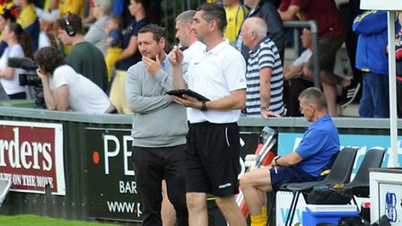 AFC Sudbury boss David Batch (left, with the grey jumper on) has been impressed with his side recent