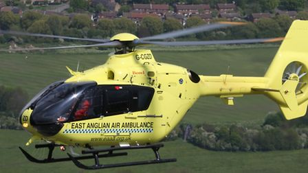 A cyclist was flown to hospital with suspected serious head injuries following a crash in Colchester