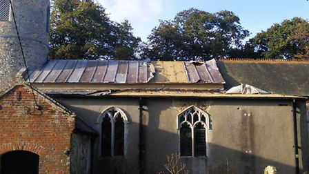 All Saints Church in Mettingham after the lead was taken from its roof