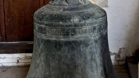A photograph of one of the stolen bells from St Nicholas' Church in Little Saxham.